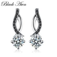 Подлинные 925 пробы серебряные ювелирные изделия черный и белый камень обручение серьги гвоздики для женщин T014