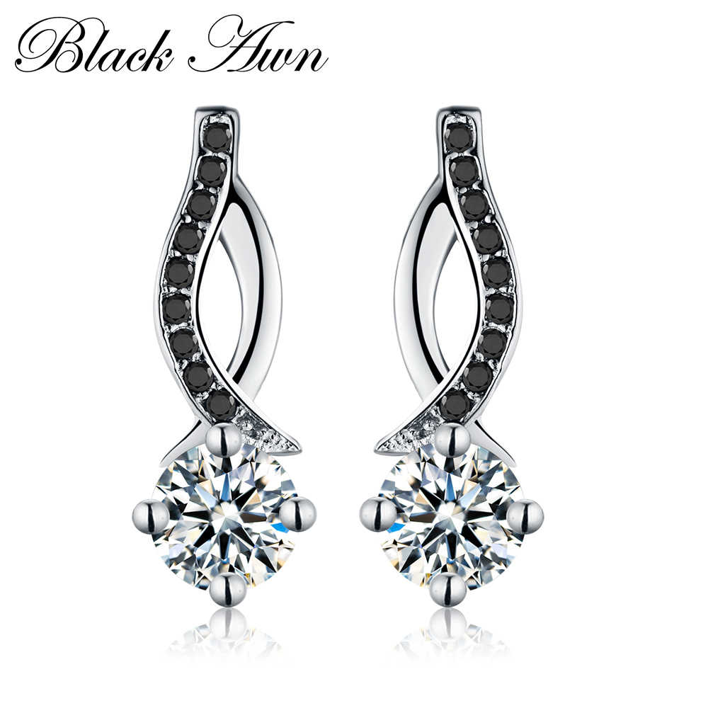 Genuine 925 Sterling Silver Jewelry Black&White Stone Engagement Stud Earrings for Women T014