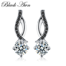 [BLACK AWN] Asli 925 Sterling Silver Jewelry Black & White Stone Engagement Stud Earrings untuk Wanita T014