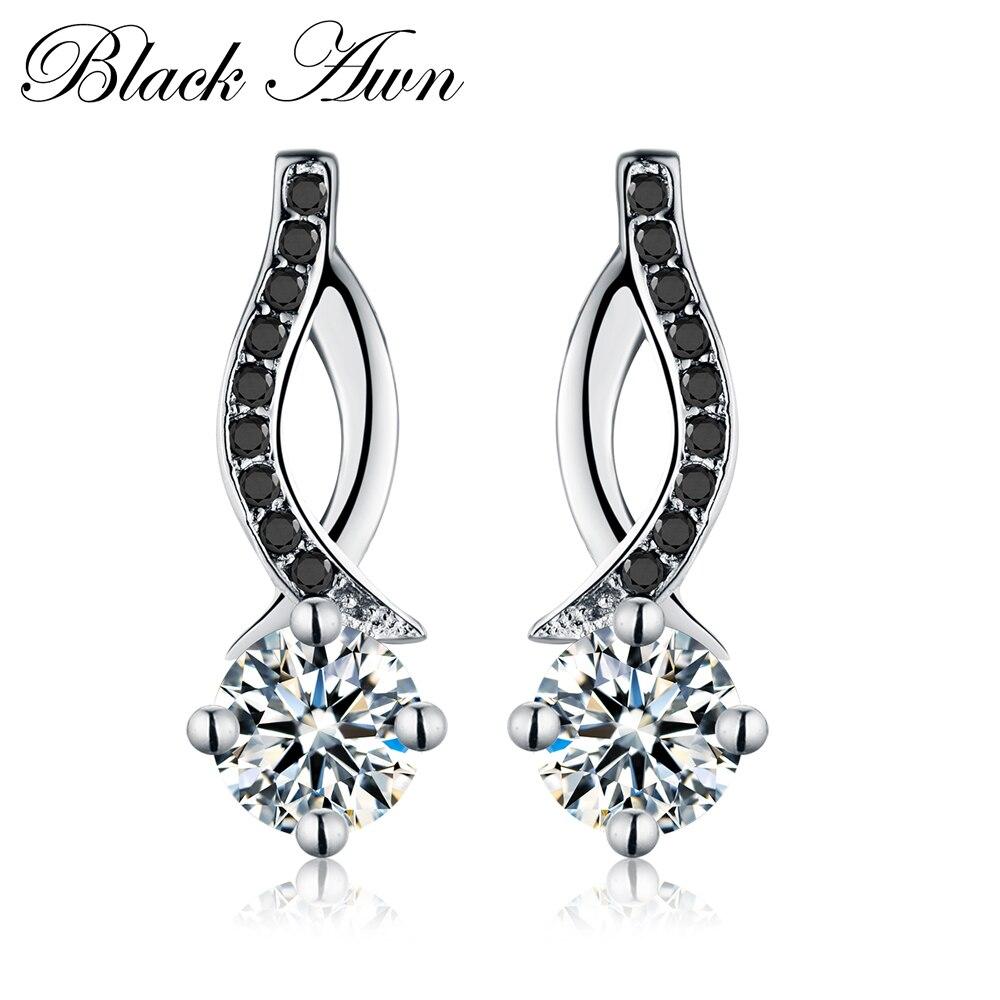 Véritable 925 En Argent Sterling Bijoux Noir et Blanc Pierre Engagement Boucles Boucles D'oreilles pour les Femmes T014
