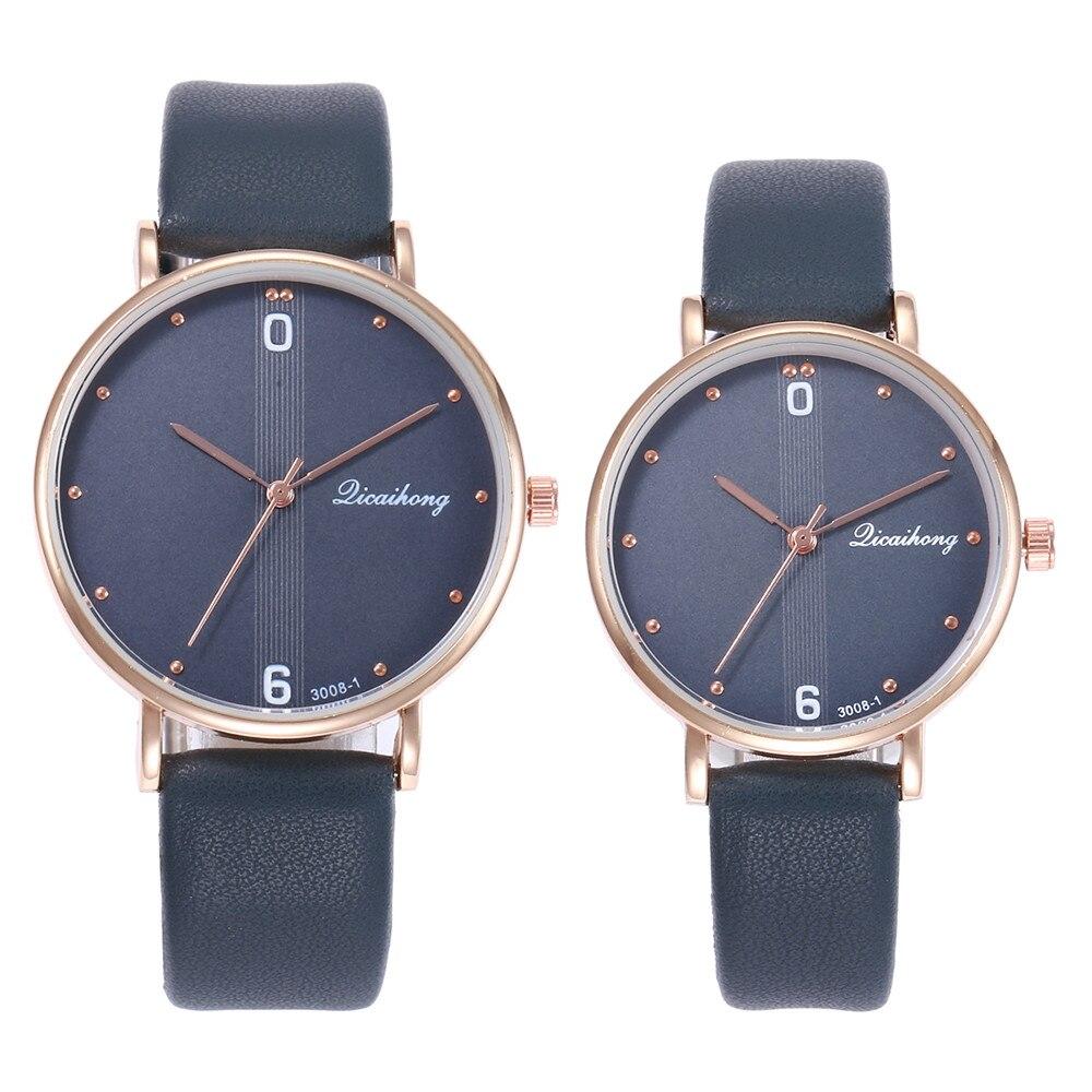 100% QualitäT 2 Stücke Paare Uhren Frauen Männer Mode Leder Band Analog Quarz Runde Kleid Armbanduhr Business Uhren Erkek Kol Saati # Qch4