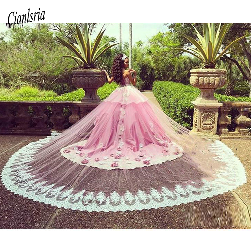 Luxury Pink Ball Gown Quinceanera Dresses With Detachable Train Lace Applique Hand Made Flowers Floral Formal Prom Party Gown(China)