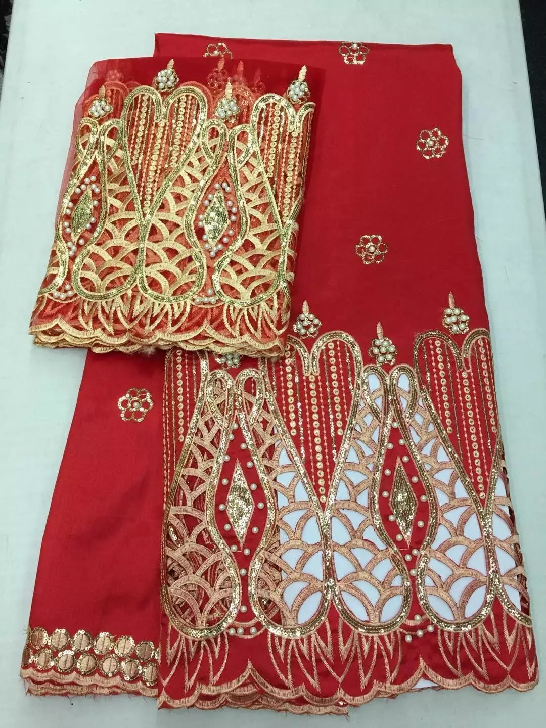 Latest African Laces Red 2017 Hojilou 2017 French Lace with Beads and Sequins Direct Selling Nigerian