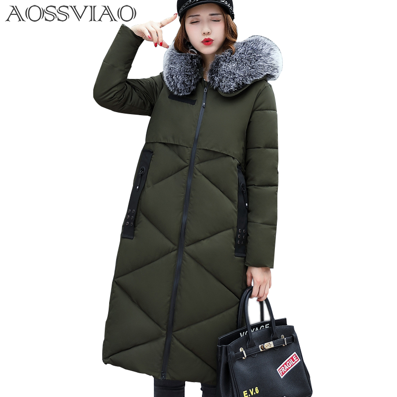 AOSSVIAO Couple Winter Parka Women 2017 Fur Collor Thick Warm Hooded Winter Jacket Women's Cotton Padded Female Coat Winter 2017 women winter cotton jacket long women coat thick hooded collor female warm clothes parka high quality cotton coats qh0377