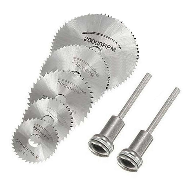 New 7Pcs HSS Circular Wood Cutting Saw Blade Disc Mandrels For Rotary Tool