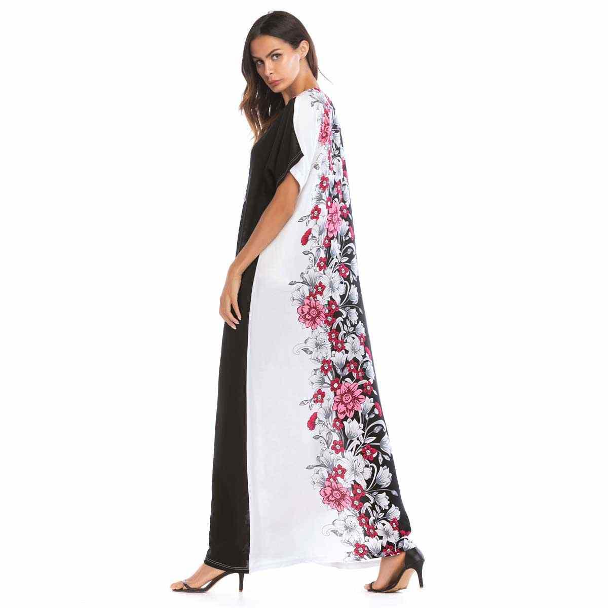 818ee4021ce03 2019 Summer Fashion Floral Print Maxi Dress Short Sleeve Casual Embroidery  Women Muslim Dress Islamic Arab Dubai Abaya VKDR1586