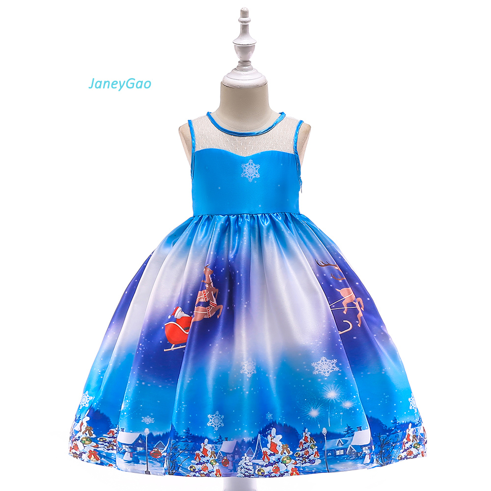 JaneyGao   Flower     Girl     Dresses   For Chirstmas Party   Girl   Formal   Dresses   Elegant Blue With Christmas Pattern Children Formal Gown