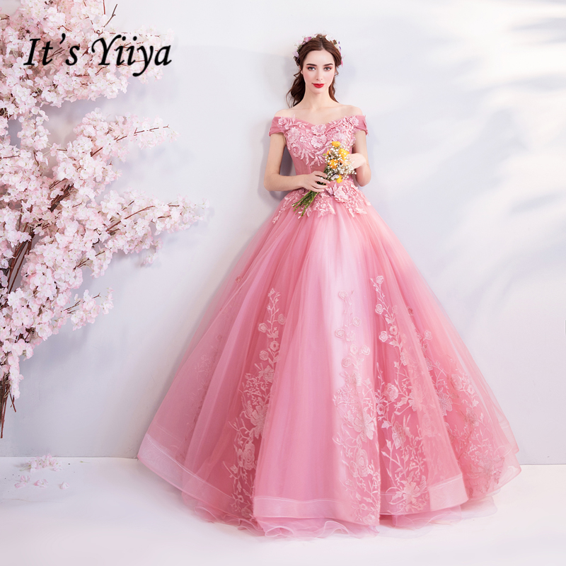 It's YiiYa Soybean Evening Dresses A-line Boat Neck Beading Flowers Party Formal Dress Floor-length Lace Up 2018 New  LX829