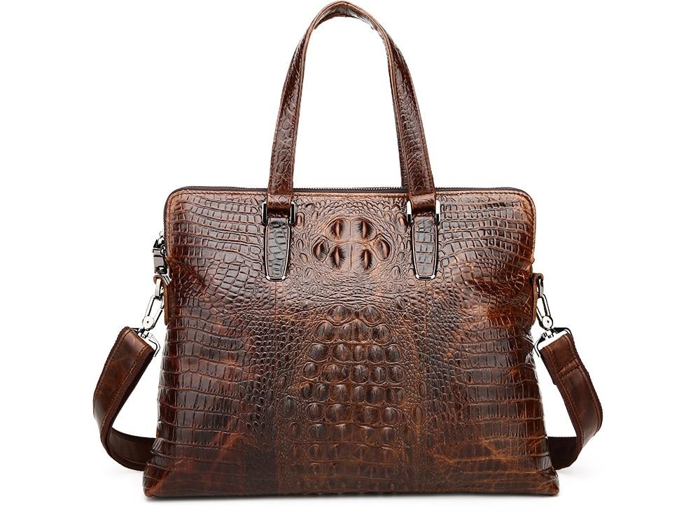 ФОТО Nesitu Vintage Alligator Pattern Real Genuine Leather Men Messenger Bags Cowhide Man Briefcase Portfolio #M1230