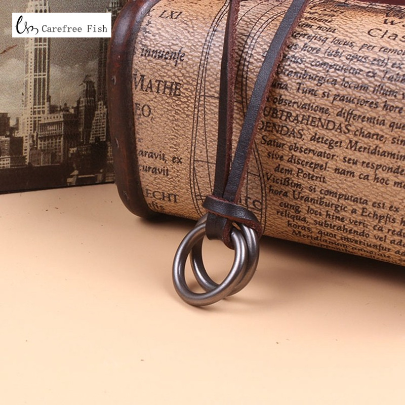 Vintage punk mens cowhide rope necklace male leather cord necklace male double circles pendant necklace male Jewelry accessories