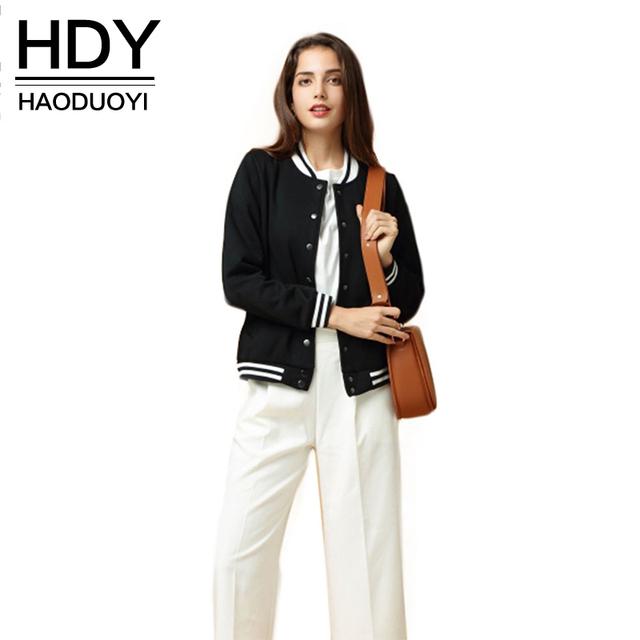 Hdy haoduoyi 2016 mujeres de la moda otoño 3 colores terciopelo bombardero chaquetas de manga larga del o-cuello botones chaqueta de bombardero