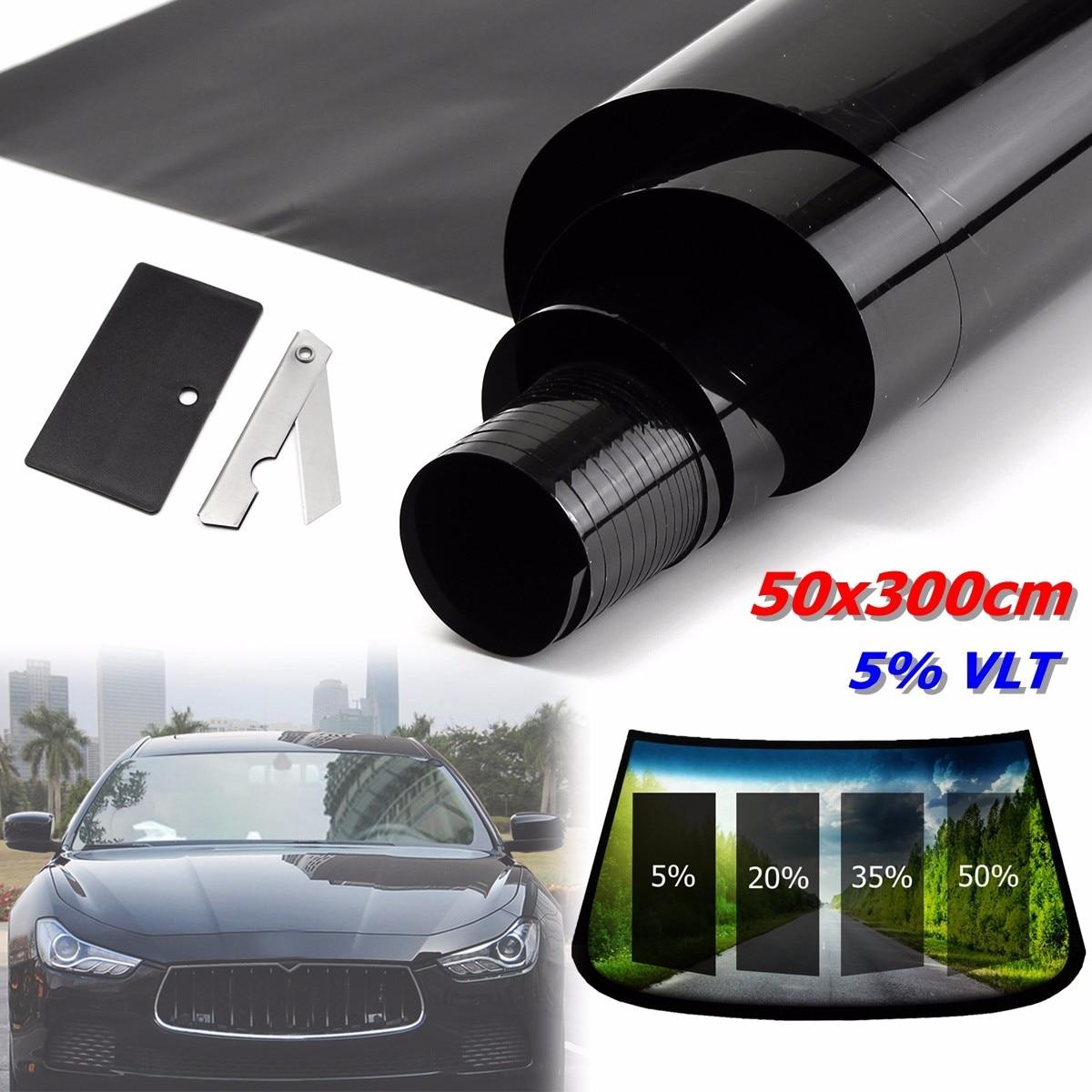 50x300 cm 5% VLT noir voiture maison verre fenêtre teinte teinte Film vinyle rouleau fenêtre feuille protéger Films anti-déflagrant ombre chaleur
