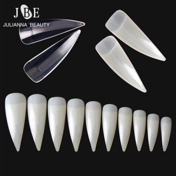 500Pcs Stiletto Long False Fake Nails Tips Manicure Artificial Nails Salon Half Cover Point Nail Tips White/Clear/Nature Choose Маникюр