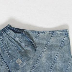 Image 5 - TWOTWINSTYLE Summer Denim Skirt For Women High Waist Bowknot Slim Mini Asymmetrical Skirts Female Fashion Clothes 2020 New