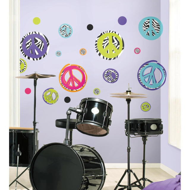 ZEBRA animal print PEACE SIGNS wall stickers 26 decals decor SKULL ...