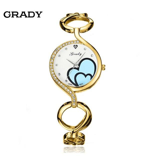 Grady donne bracciale in oro orologi 30mm casuale delle donne della vigilanza di modo di lusso del quarzo della vigilanza di trasporto libero