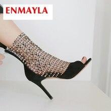 купить!  ENMAYLA 2019 новое прибытие женщины летняя мода супер высокие сексуальные сандалии Basic Party Тверд