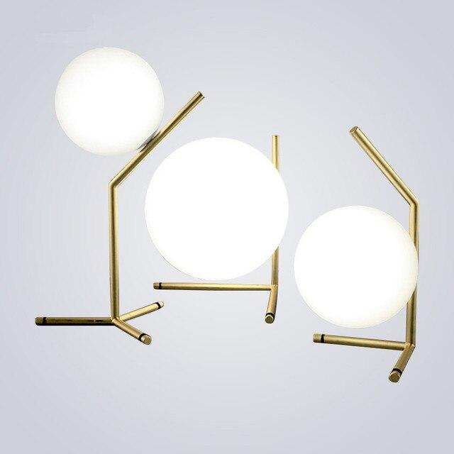 Moderno lampade da tavolo Rotondo bianco Globo Palla di Vetro ...