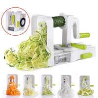 5 Blade Vegetable Spiralizer Folding Veggie Pasta & Spaghetti Potato Vegetable Spiral Cutter Zucchini Slicer