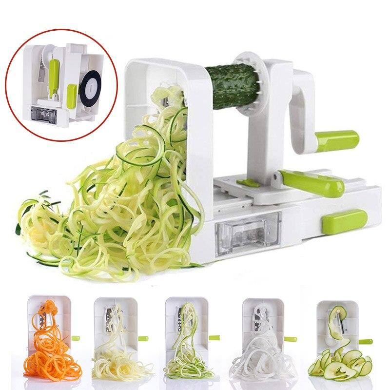 5 lâmina vegetal spiralizer dobrável veggie macarrão & espaguete batata vegetal cortador espiral abobrinha slicer