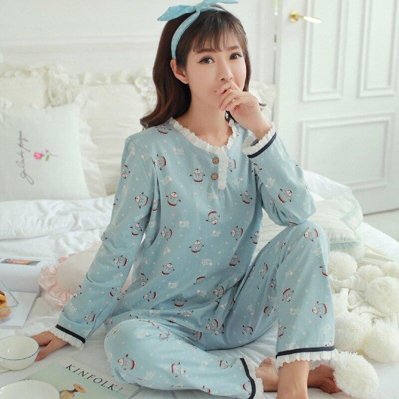 2018 Cotton Maternity Sleepwear Pregnant Women Pajamas Nursing Breast Wear Autumn Lactation Clothing for Feeding Clothes