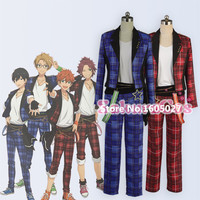 Anime Ensemble Star Mao Isara Trickstar Red Plaid Suits Uniform Hallowmas Figure Clothing Cosplay Costume Any Size NEW