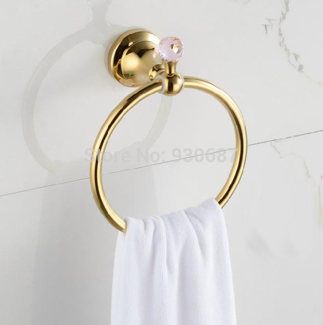 ФОТО Free Postage Gold Plate Bathroom Towel Rings Wall Mount Towel Hanger