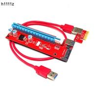 Nuevo rojo VER007S PCI Express  PCIe Riser Card 1x a 16x PCI-E Riser Extender 60cm USB3.0 Cable 15Pin SATA para BTC minero plataforma minera