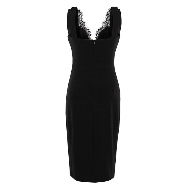 Plus Size Summer Gothic Dress Women Party Dress Solid Black Dresses Sheath Sexy Hollow Out Sleeveless Retro Bodycon Dresses 1