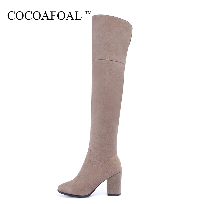 COCOAFOAL Women Black High Heeled Shoes Genuine Leather Chelsea Thigh High Boots Plus Size 43 Winter Fashion Over The Knee Boots cocoafoal women sexy black high heeled shoes genuine leather thigh high boots plus size 33 41 winter chelsea over the knee boots