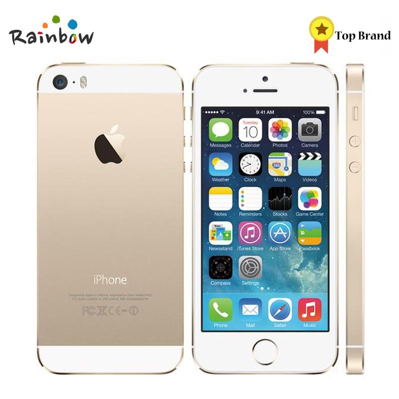 Apple original iphone 5S desbloqueado 16 gb/32 gb rom 8mp câmera 1136x640 pixel wifi gps bluetooth telefone celular multi idioma 1