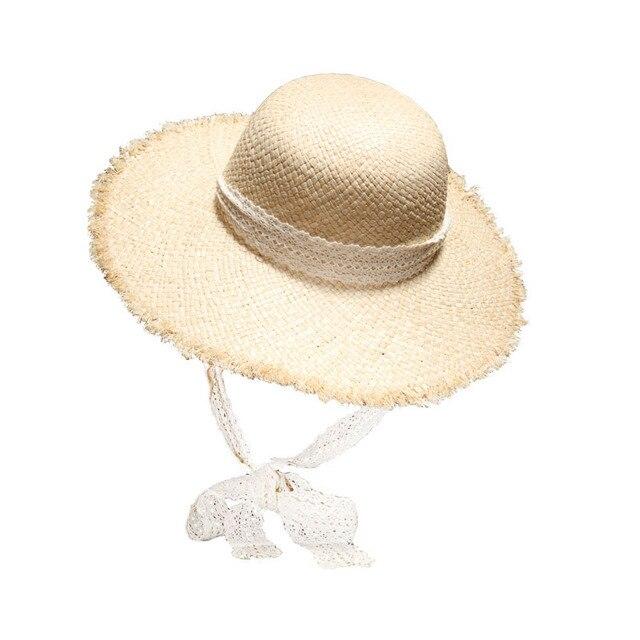 224bdfda3fd08 Dropshipping vintage rafi straw hat lady elegant lace belt beach wide brim  hat summer fashion sun