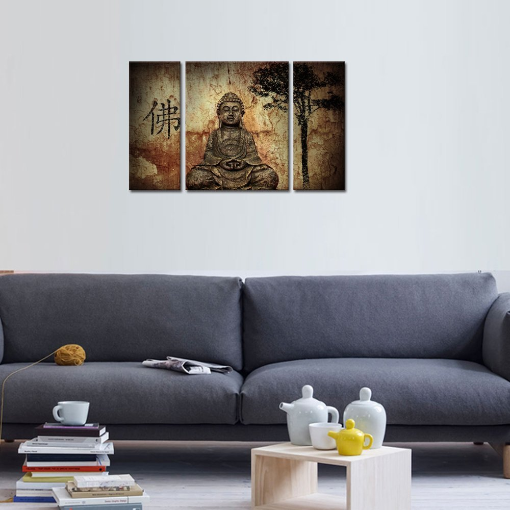 HD Buddha CANVAS PRINTS Modern 3 Panels Unframed Painting Home Decoration  Living Room Bedroom Decor Wall Fine Art In Painting U0026 Calligraphy From Home  ...