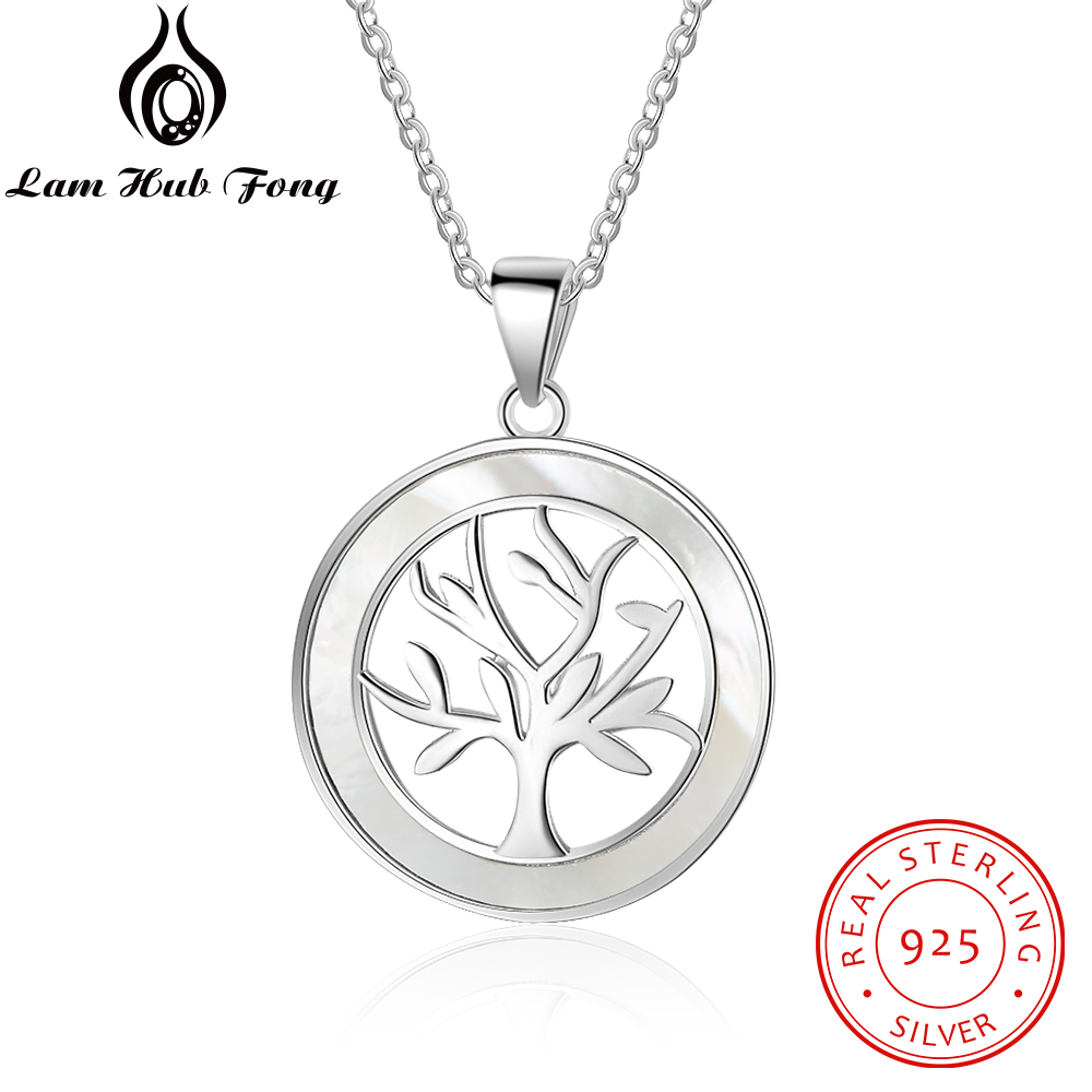 New Mother of Pearl Jewelry Real 925 Sterling Silver Tree of Life Round Pendant Necklace Women Chain Necklaces (Lam Hub Fong) stylish adjustable tree of life layered wrap necklace