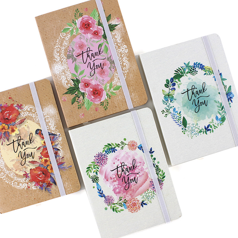 Hard Cover Mini Creative Hand-painted Flowers Notebook Student Stationery Dotted Journal Bujo Notebooks Writing Pads