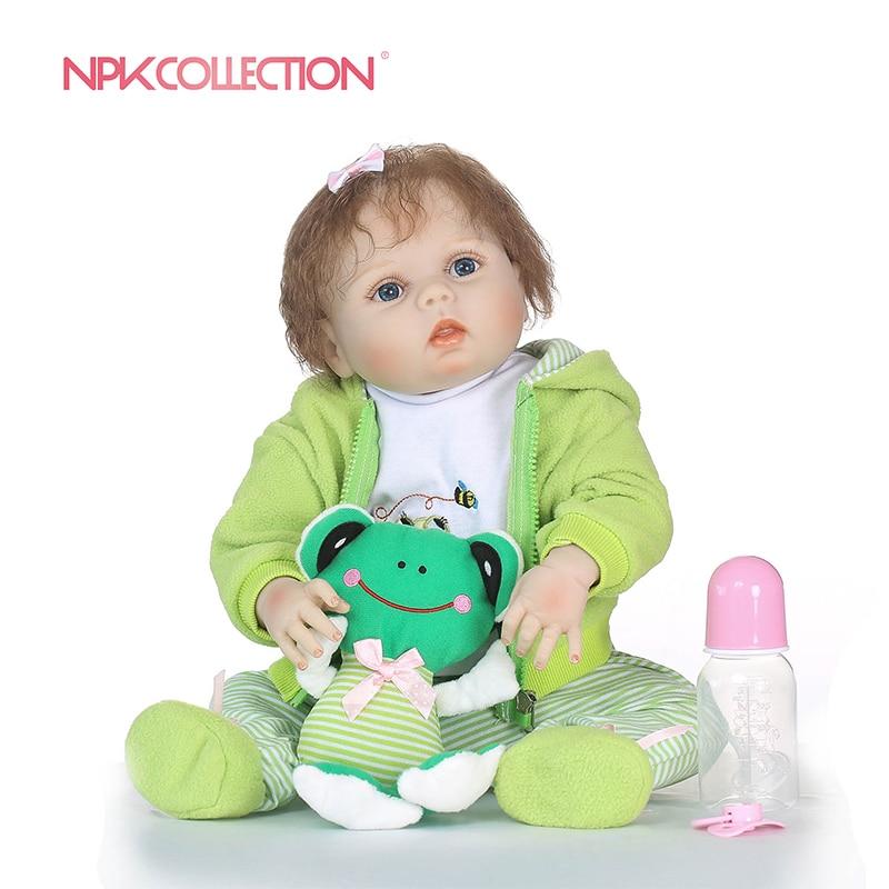 NPKCOLLECTION 57 cm Ganzkörper Weichem Silikon Mädchen Reborn Baby Puppe Kinder Spielzeug Lebensechte Prinzessin Mädchen Puppen 23 ''Bebe echtes Baby