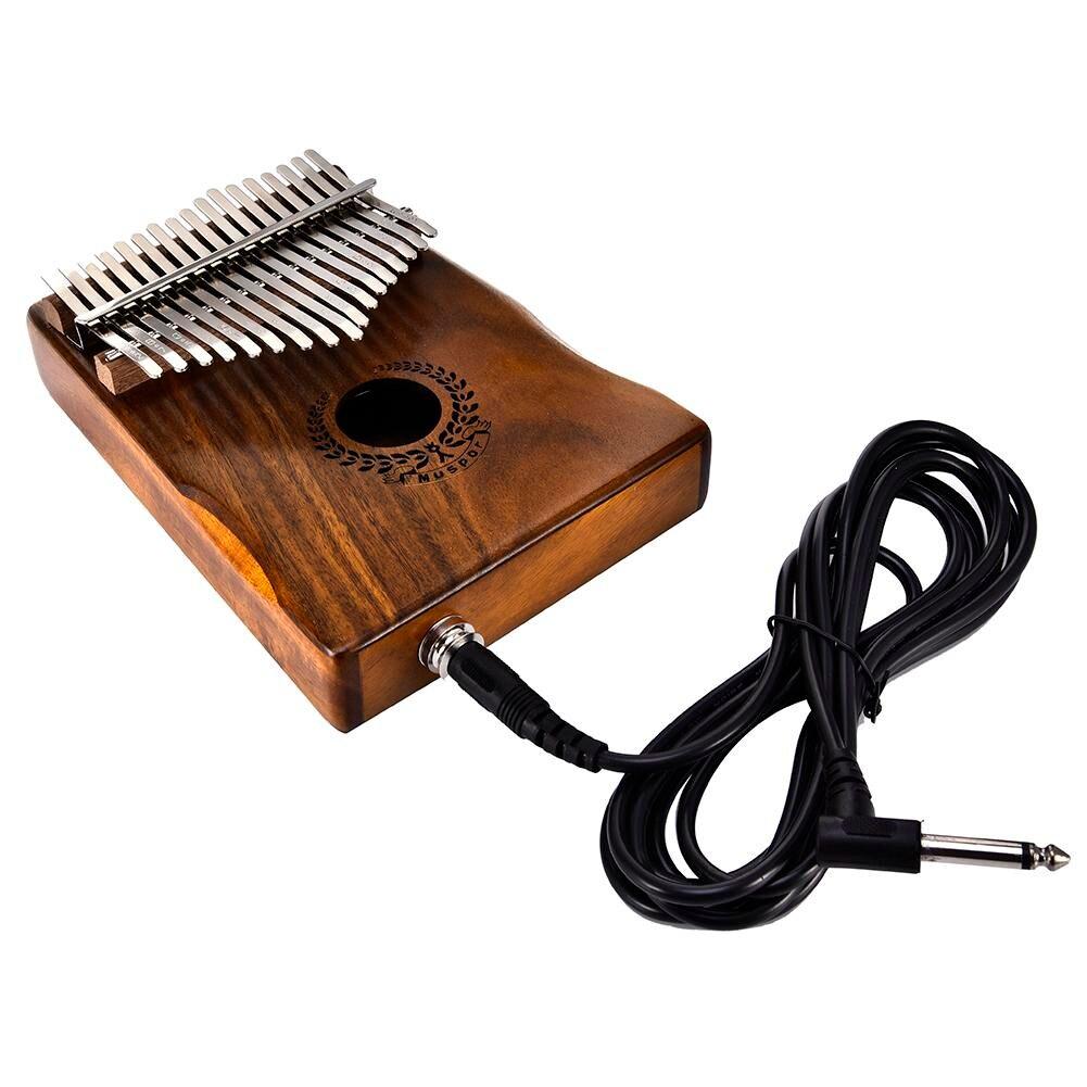17 touches EQ Kalimba Solide Acacia Piano à pouces Lien Haut-Parleur Électrique Ramassage Avec Sac Câble - 6