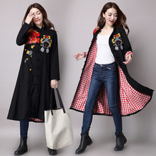 2016 Autumn Long Outwear Trench Coat For Women Flower Emboridery Cotton Liner Ethnic Style Ladies Black Long Coat Plus Size