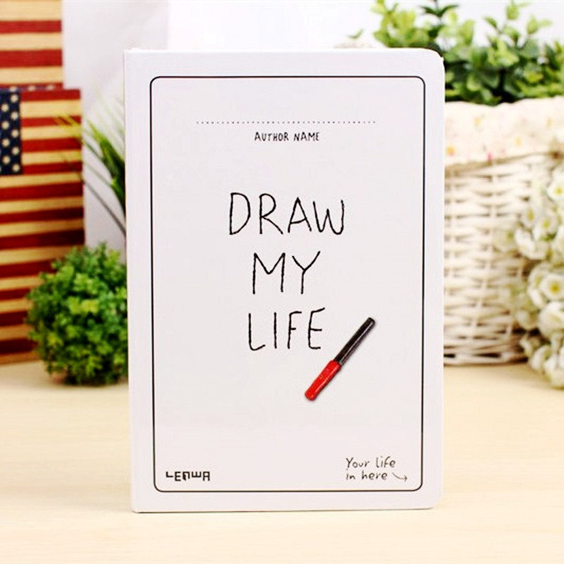 Korea Stationery Blank Notebook A5 Creative Sketchbook Simple Thicken Planner Diary Sketch Book Graffiti Hand-painted Notepad