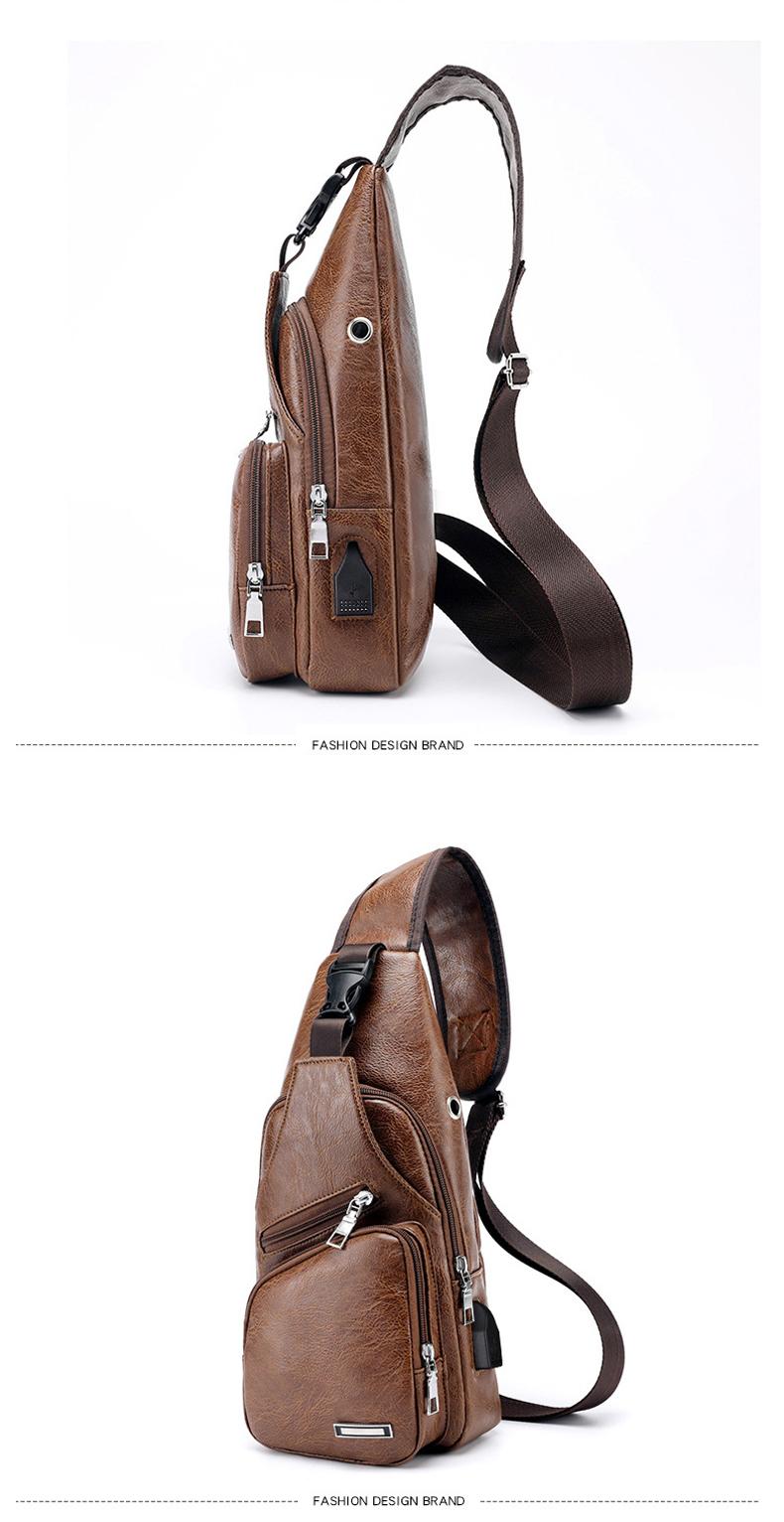 Men's Crossbody Bags Men's USB Chest Bag Designer Messenger bag Leather Shoulder Bags Diagonal Package 2019 new Back Pack Travel 5