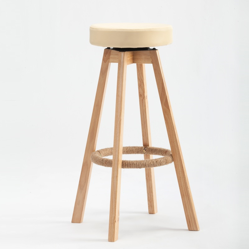 BSDT wood chair high foot stool bar chairs are simple household cleaning cloth FREE SHIPPING bar chairs minimalist fashion lift chair bar stool high table