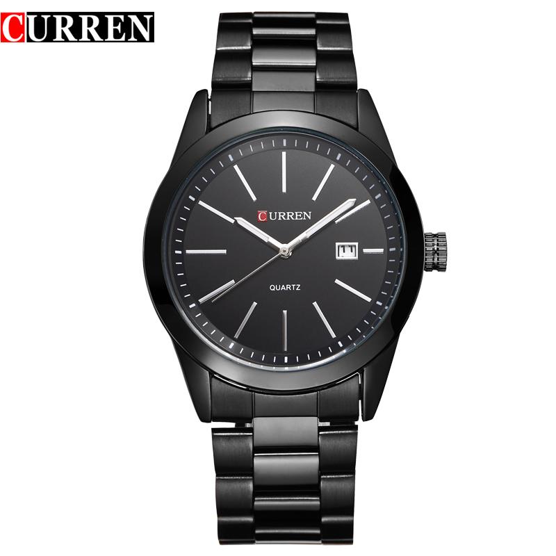 Prix pour 2016 Curren hommes sports militaires montres mode montres à quartz bande d'acier pleine montre affichage de la date acier tungstène titane noir