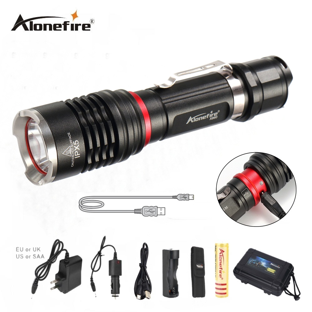 AloneFire X960 USB Handy Powerful LED Flashlight Rechargeable Torch usb Flash Light Bike Pocket LED Zoomable Lamp For Hunting