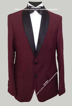 Custom Made Dark Burgundy Tuxedo Jacket With Pants Tailored Burgundy Suit  Wedding Suits For Men,Bespoke Mens Burgundy Blazer - DISCOUNT ITEM  0% OFF All Category