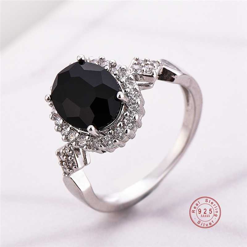 Genuine Jewelry 925 Sterling Silver Stackable Ring Round Black CZ Crystal Finger Rings for Women Wedding Party Bague Bijoux