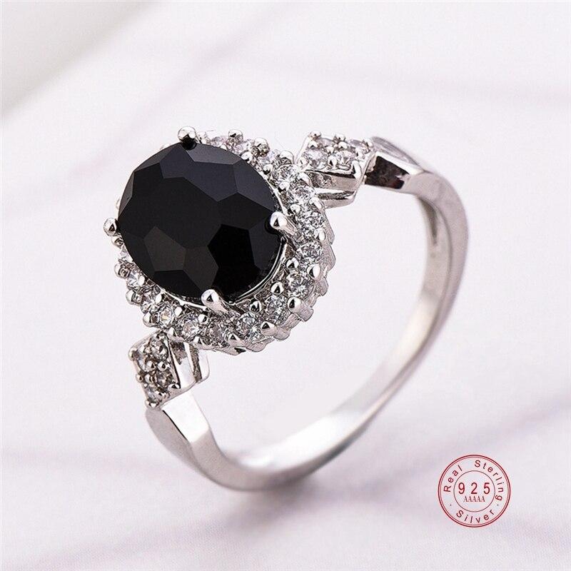 Véritable Bijoux 925 en argent Sterling anneau empilable rond noir CZ cristal bagues pour les femmes de mariage Bague Bijoux