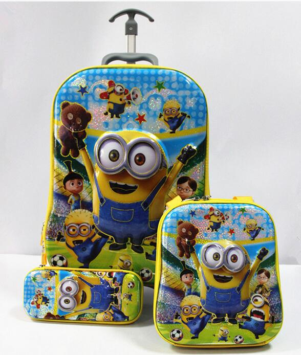 ФОТО 2016 New  6D travel suitcase sets (lunch box + pen boxes+trolley luggage ) kids luggage , Minions backpack with wheels