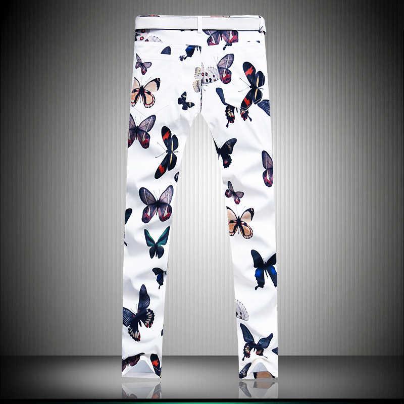 秋男性の花パンツアジアサイズ 28-38 メンズズボン、白と黒のパンツ男性