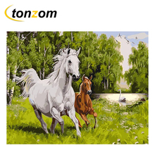 RIHE Horse Mother And Child Drawing By Numbers DIY Animal Painting Handwork On Canvas Oil Art Coloring For Home