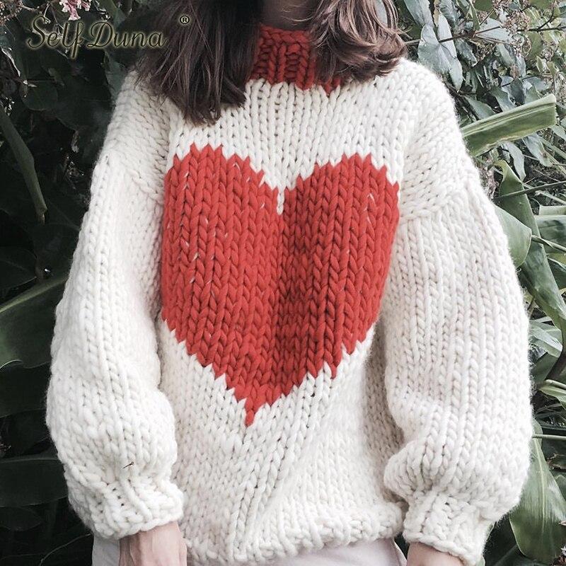 Auto Duna automne hiver demi pull à col roulé pull chaud tricot noël pull amour noir blanc femmes tricoté pull